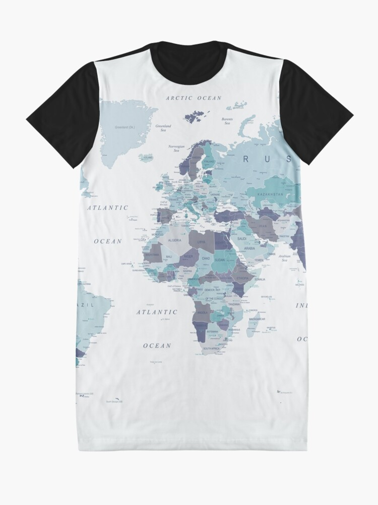 Alternate view of World Map in Blue Graphic T-Shirt Dress