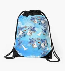 Illustrated  White Watercolor Moonflowers Drawstring Bag