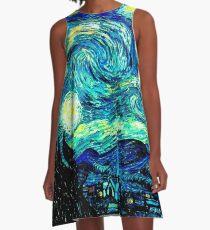 STARRY NIGHT: Vincent Van Gogh Famous Painting Print  A-Line Dress