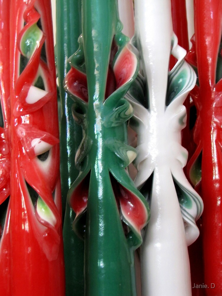 """""""Doobie's Carved Candles"""" Celebrate Christmas Colours by Janie. D"""