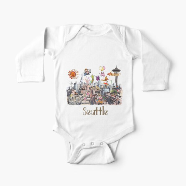 POP ART Crazy City of Seattle  Long Sleeve Baby One-Piece