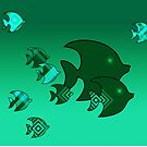Fish Swimming Underwater Green and Turquoise by TerryArts