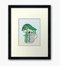 Blue and Green Floral Bouquet in Pottery Framed Print
