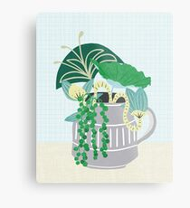 Blue and Green Floral Bouquet in Pottery Metal Print