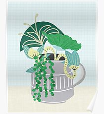 Blue and Green Floral Bouquet in Pottery Poster