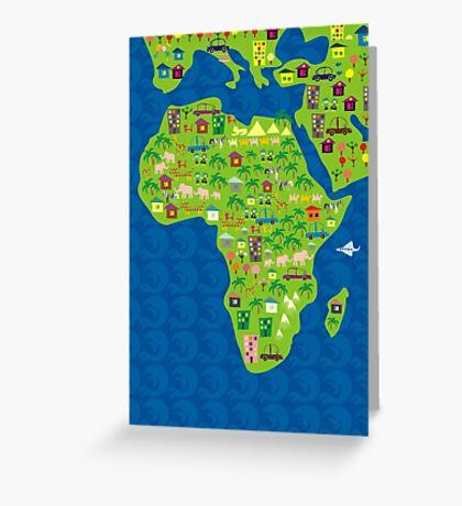 cartoon map of africa Greeting Card