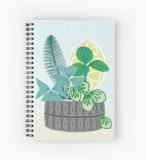 Blue and Green Floral Bouquet in Pottery Spiral Notebook