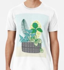 Blue and Green Floral Bouquet in Pottery Premium T-Shirt