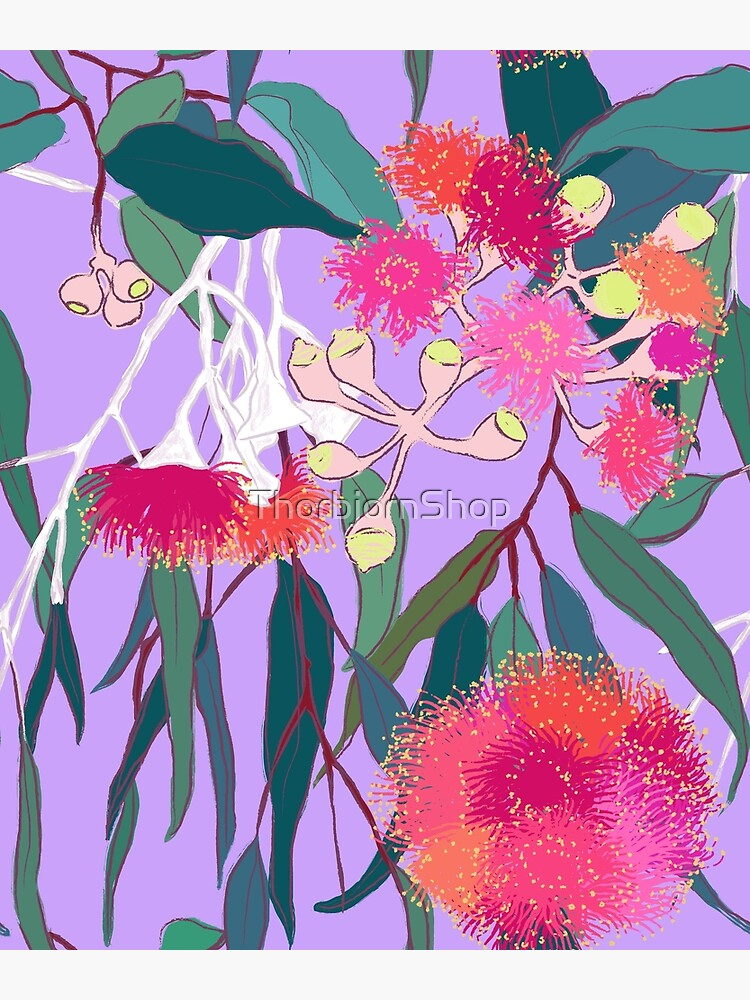 Australian Gumnut Eucalyptus Floral in Lilac Orchid by ThorbjornShop