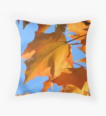 Autumn Maple Leaves In Backyard Throw Pillow