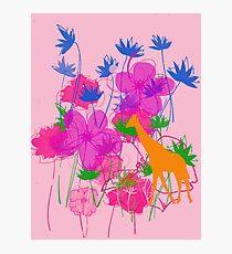 Giraffe & Flowers. Photographic Print