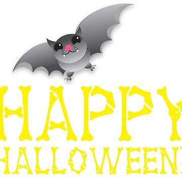 HAPPY HALLOWEEN in bones with cute bat  by jazzydevil