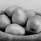 Six Pears in a Stone bowl by Sandra Guzman
