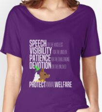 Protect Animal Welfare (white text) Women's Relaxed Fit T-Shirt