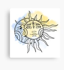 Sun and Moon Water colour / color Canvas Print