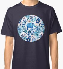 Blush Pink, White and Blue Elephant and Floral Watercolor Pattern Classic T-Shirt