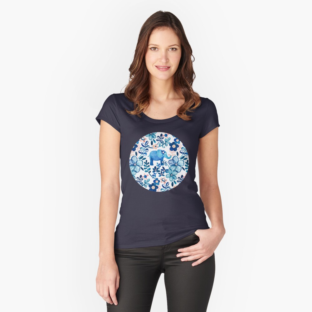 Blush Pink, White and Blue Elephant and Floral Watercolor Pattern Fitted Scoop T-Shirt