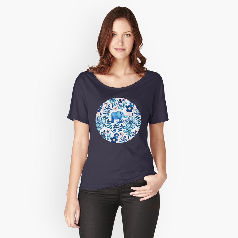 Blush Pink, White and Blue Elephant and Floral Watercolor Pattern Relaxed Fit T-Shirt