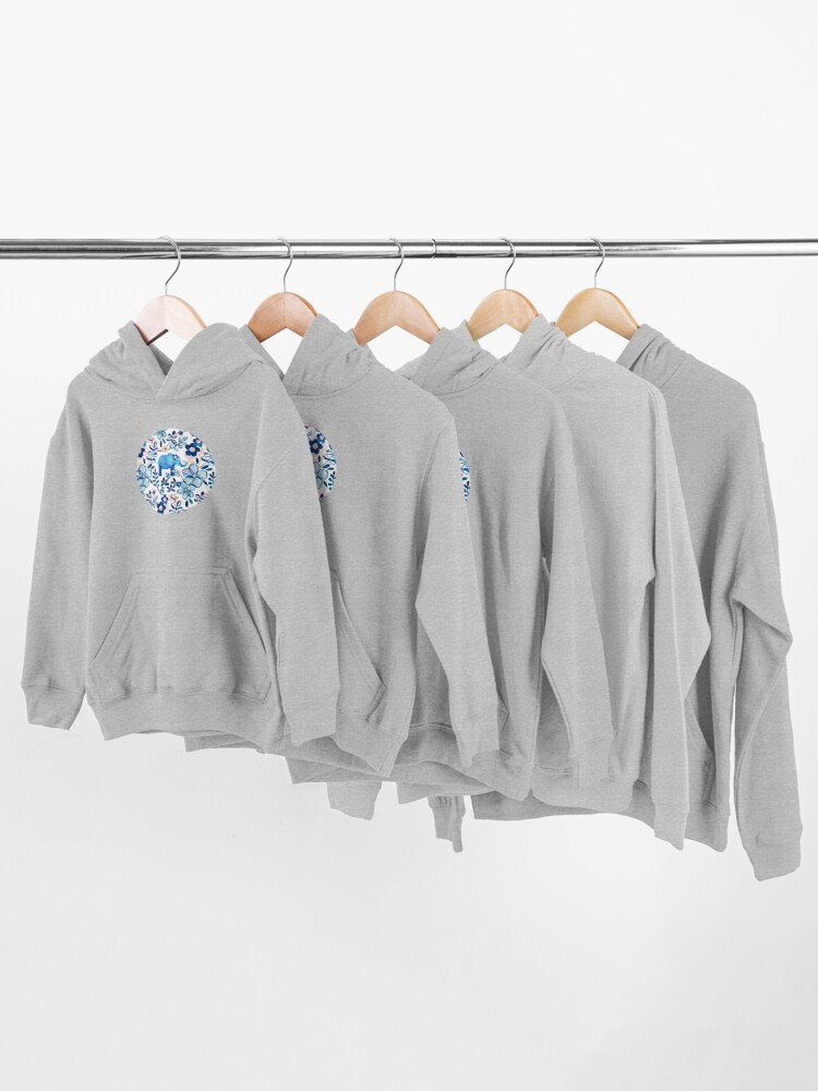 Alternate view of Blush Pink, White and Blue Elephant and Floral Watercolor Pattern Kids Pullover Hoodie