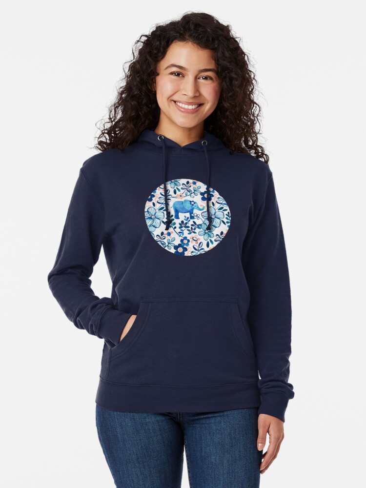 Alternate view of Blush Pink, White and Blue Elephant and Floral Watercolor Pattern Lightweight Hoodie