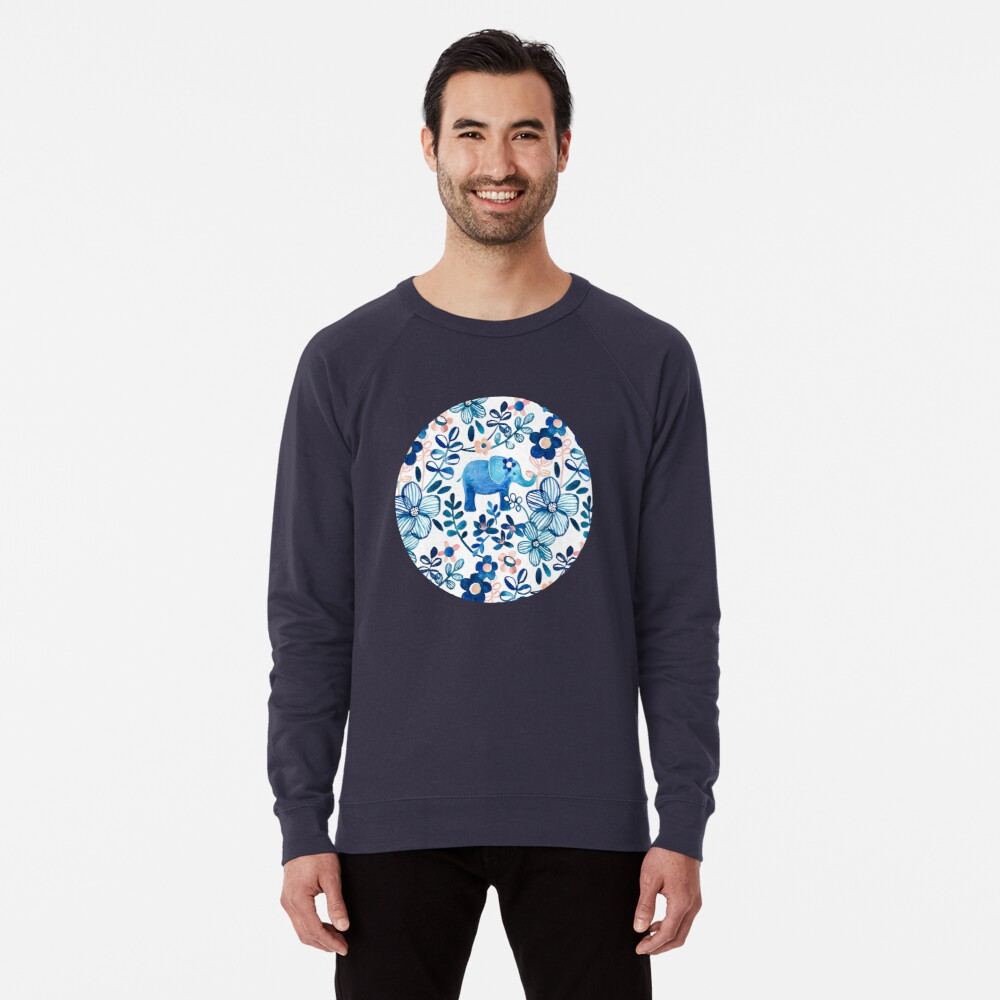 Blush Pink, White and Blue Elephant and Floral Watercolor Pattern Lightweight Sweatshirt