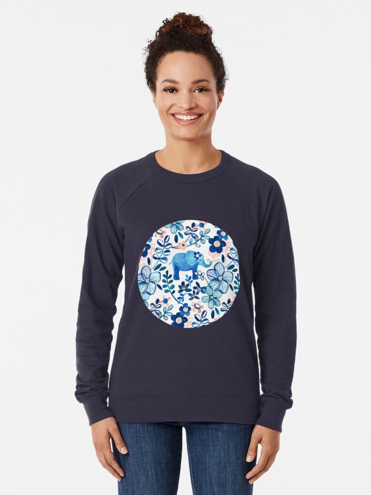 Alternate view of Blush Pink, White and Blue Elephant and Floral Watercolor Pattern Lightweight Sweatshirt