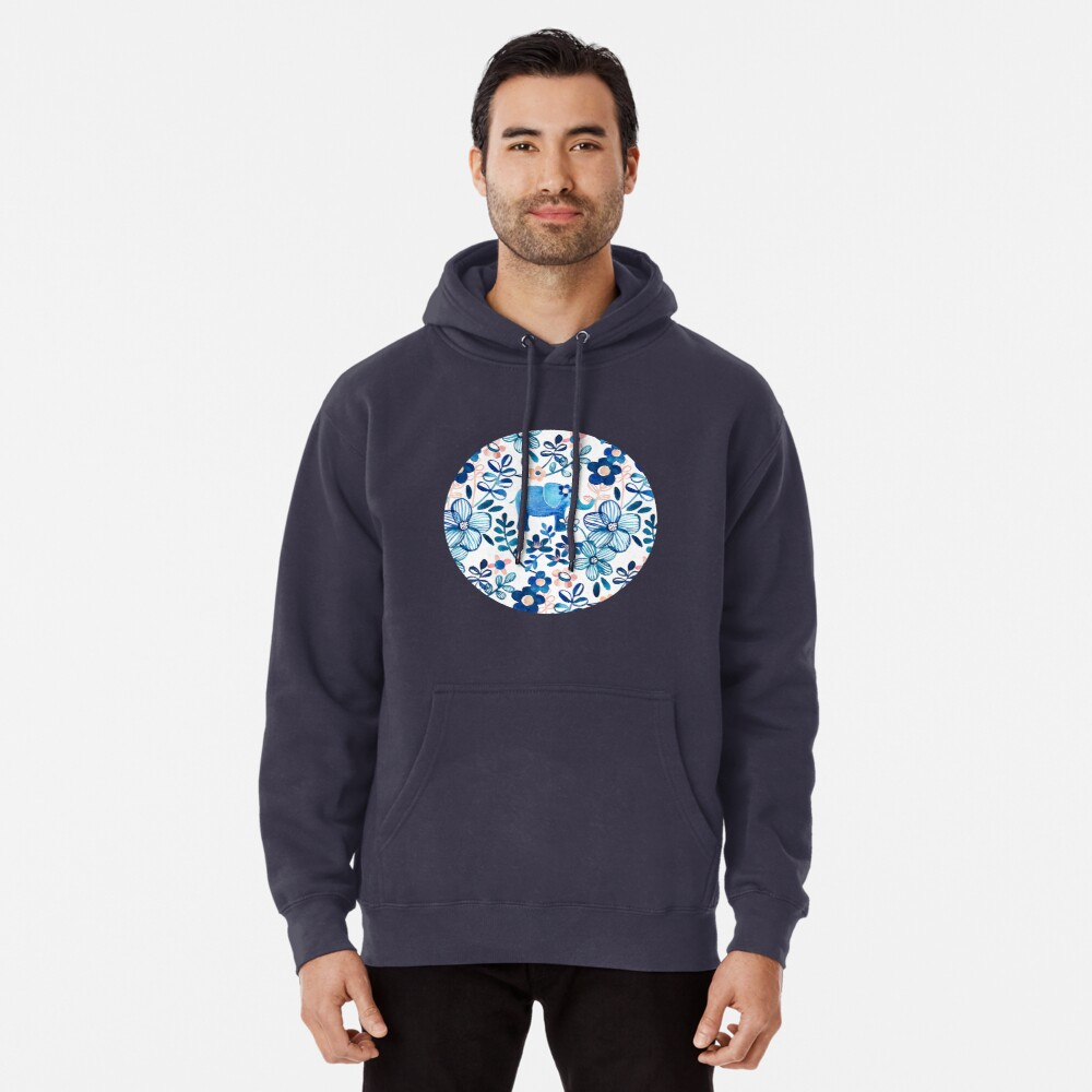 Blush Pink, White and Blue Elephant and Floral Watercolor Pattern Pullover Hoodie