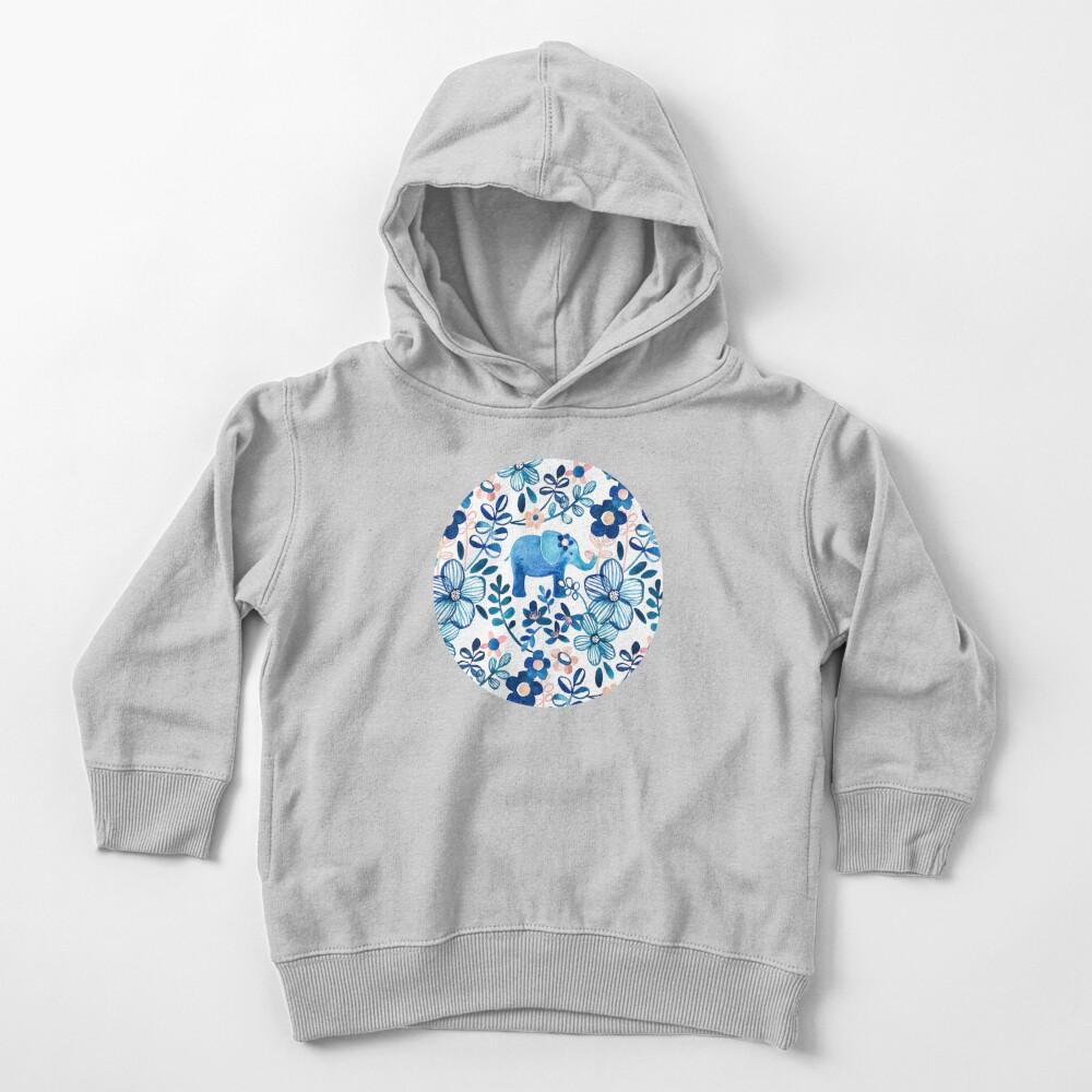 Rosa, weißer und blauer Elefant und Blumenaquarell-Muster erröten Kleinkind Hoodie