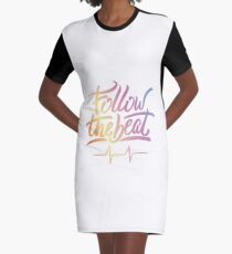 Follow the beat in colors Graphic T-Shirt Dress