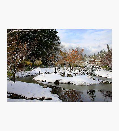 Mayne Island Japanese Garden in snow  Photographic Print