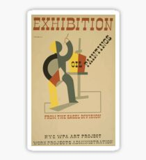 WPA United States Government Work Project Administration Poster 0688 Exhibition Oil Paintings Easel Division Sticker