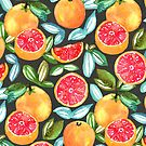 Grapefruits On Navy by TigaTiga