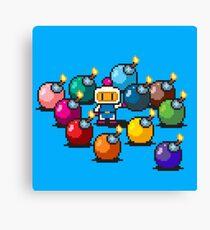 Bomberman Rainbow Bomb Set pixel art by PXLFLX Canvas Print