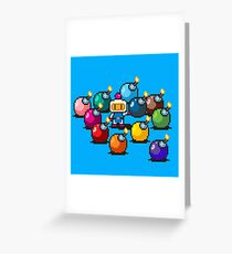 Bomberman Rainbow Bomb Set pixel art by PXLFLX Greeting Card
