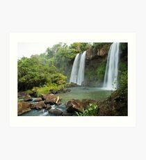 Exotic double waterfall Art Print