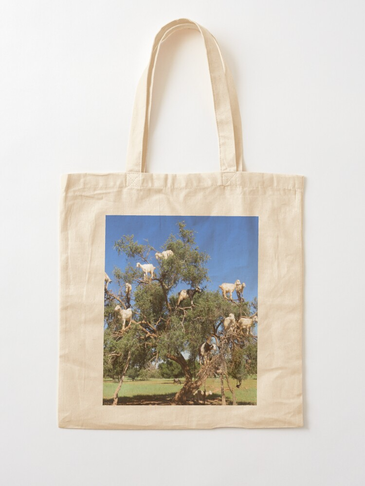 Alternate view of goats in trees Tote Bag