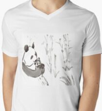 Panda Sumi-e  Men's V-Neck T-Shirt