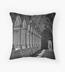 Quin Abbey B&W, County Clare, Ireland Throw Pillow