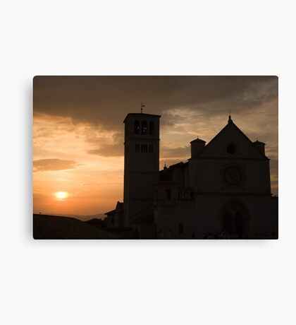 Basilica di San Francesco at sundown in Assisi Canvas Print