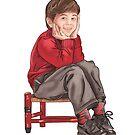 sitting boy by Anny Zafar