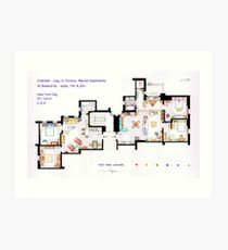 Floorplan of Friends Apartment (Old version) Art Print