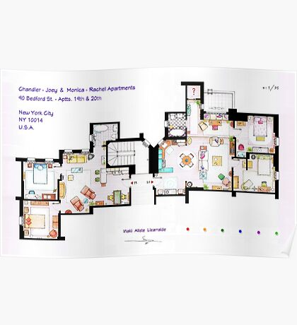 Floorplan of Friends Apartment (Old version) Poster
