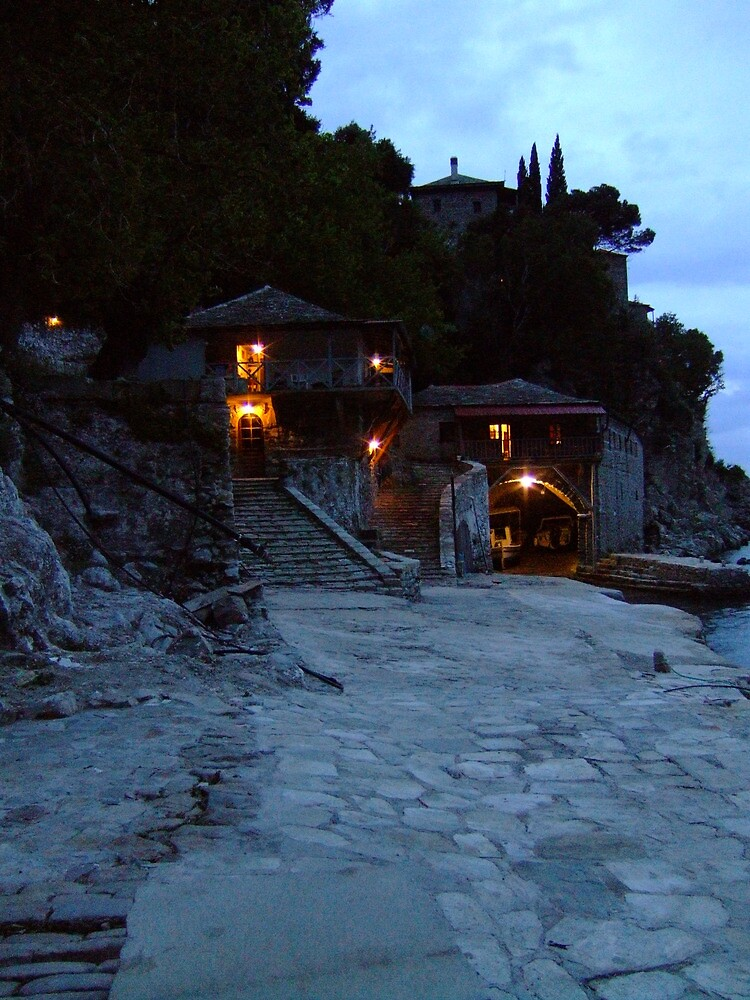 Mount Athos - nightfall at Grigoriou by SvobodaT