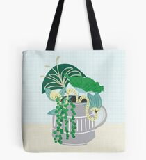 Blue and Green Floral Bouquet in Pottery Tote Bag