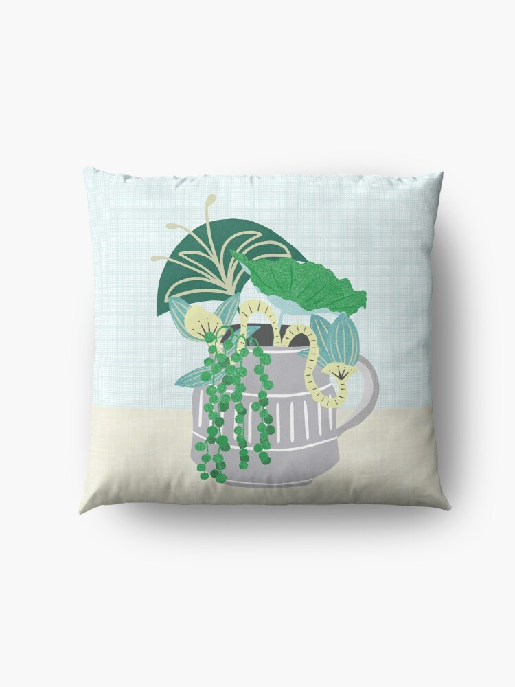 Alternate view of Blue and Green Floral Bouquet in Pottery Floor Pillow