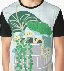 Blue and Green Floral Bouquet in Pottery Graphic T-Shirt
