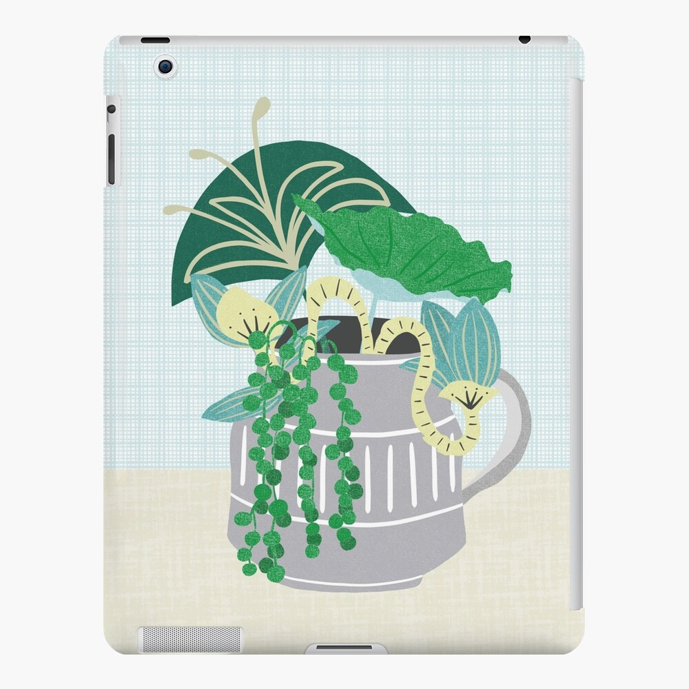 Blue and Green Floral Bouquet in Pottery iPad Case & Skin