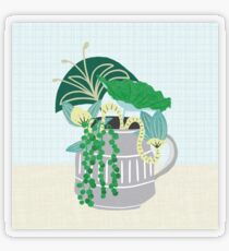 Blue and Green Floral Bouquet in Pottery Transparent Sticker