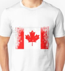 Canadian flag with snowflakes gruge Unisex T-Shirt