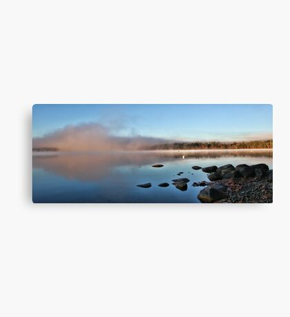 Fall At Crystal Lake - Mist Rising Canvas Print
